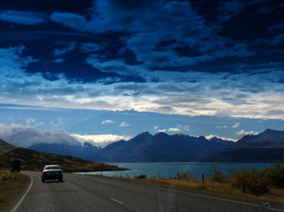 Alongside Lake Pukaki, en route to Mt. Cook